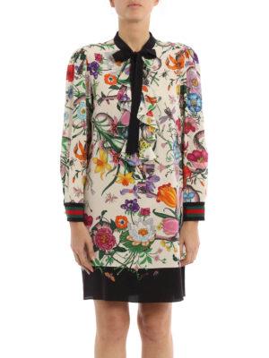 Gucci: cocktail dresses online - Flora Snake print silk shirt dress