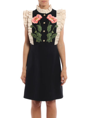 Gucci: cocktail dresses online - Floral pattern wool and silk dress