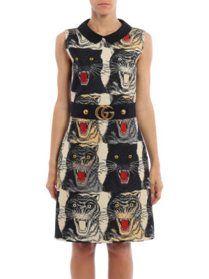 Gucci: cocktail dresses online - Tiger print belted sheath dress