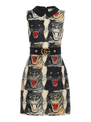 Gucci: cocktail dresses - Tiger print belted sheath dress