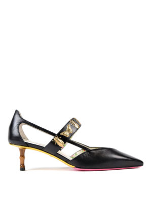 Gucci: court shoes - Insect stud detailed leather pumps