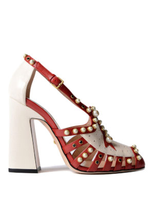 Gucci: court shoes - Leather pumps with pearls and studs