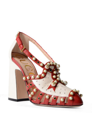 Gucci: court shoes online - Leather pumps with pearls and studs