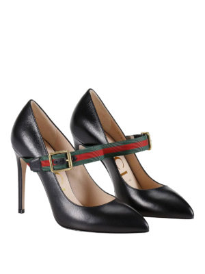 Gucci: court shoes online - Sylvie Web detail leather pumps