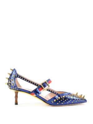 Gucci: court shoes - Studded patent leather pumps