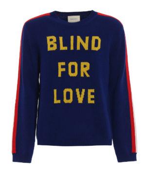 Gucci: crew necks - Blind For Love intarsia sweater