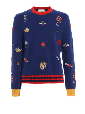 Gucci: crew necks - Embroidered wool crewneck