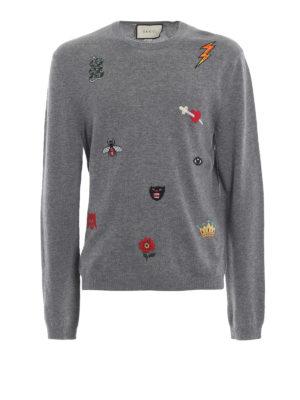 GUCCI: maglia collo rotondo - Girocollo grigio in lana con ricami