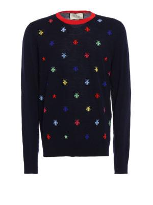 Gucci: crew necks - Multicolour bee intarsia sweater