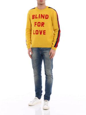Gucci: crew necks online - Blind for Love intarsia sweater