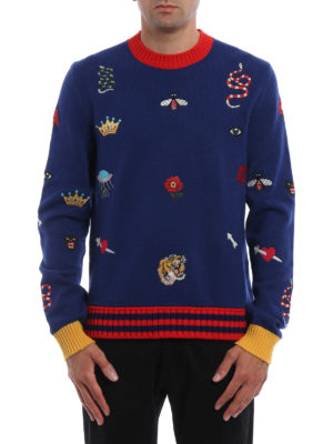 Gucci: crew necks online - Embroidered wool crewneck