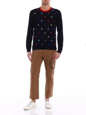 Gucci: crew necks online - Multicolour bee intarsia sweater