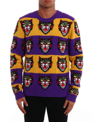 Gucci: crew necks online - Tiger jacquard wool cardigan