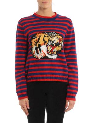 Gucci: crew necks online - Tiger striped wool sweater