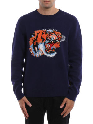 Gucci: crew necks online - Wool crewneck with tiger embroidery