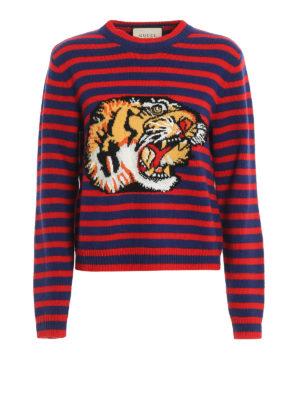 Gucci: crew necks - Tiger striped wool sweater