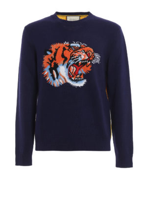Gucci: crew necks - Wool crewneck with tiger embroidery