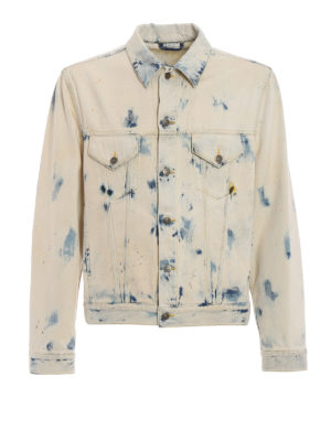 Gucci: denim jacket - Bleached and printed denim jacket