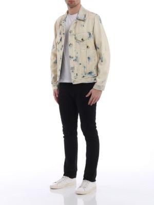 Gucci: denim jacket online - Bleached and printed denim jacket