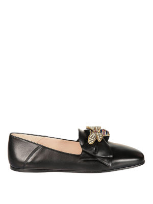 Gucci: flat shoes - Bow and bee leather ballerinas