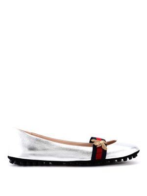 Gucci: flat shoes - Embroidered bee and Web detail flat