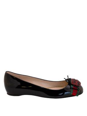 Gucci: flat shoes - Ladybird appliqué patent flats