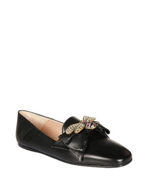 Gucci: flat shoes online - Bow and bee leather ballerinas