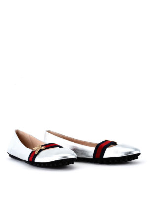 Gucci: flat shoes online - Embroidered bee and Web detail flat