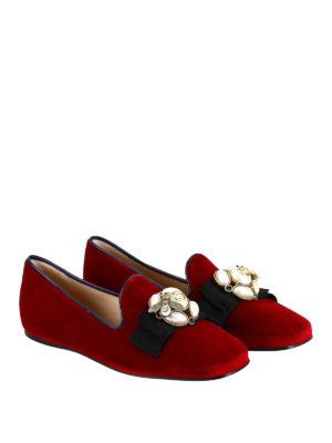 Gucci: flat shoes online - Etoile embellished velvet loafers