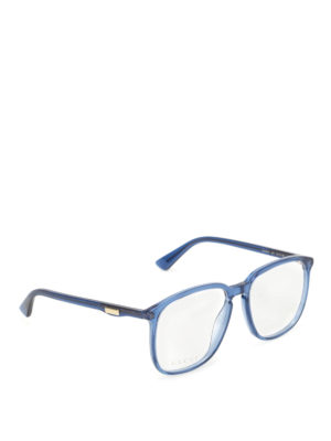 Gucci: glasses - Blue acetate square optical glasses