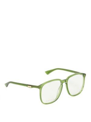 Gucci: glasses - Green acetate square eyeglasses