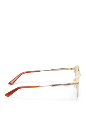 Gucci: glasses online - Acetate and metal round eyeglasses
