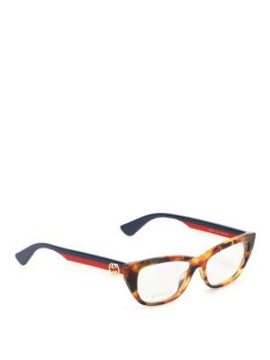 Gucci: glasses - Web temples tortoise eyeglasses
