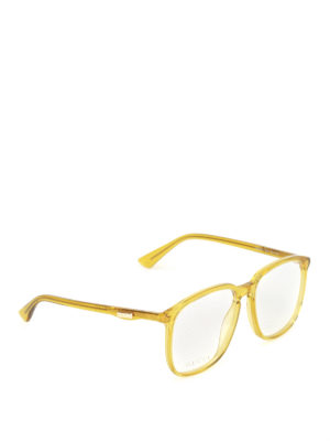 Gucci: glasses - Yellow acetate square eyeglasses