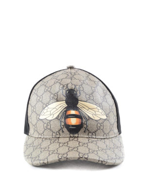 Gucci: hats & caps - Bee print GG Supreme baseball hat