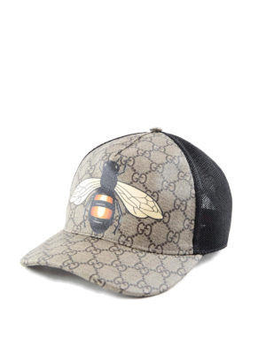 Gucci: hats & caps online - Bee print GG Supreme baseball hat