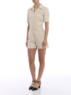 Gucci: jumpsuits online - Wool and silk crepe short jumpsuit