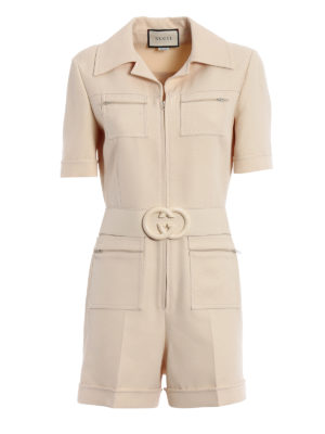 Gucci: jumpsuits - Wool and silk crepe short jumpsuit