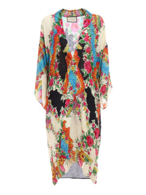 Gucci: knee length coats - Light damask open front kimono