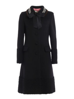 Gucci: knee length coats - Mink trimmed collar wool coat