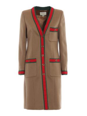 GUCCI: cappotti al ginocchio - Cappotto in camello con dettagli Web
