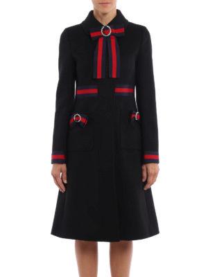 Gucci: knee length coats online - Bow wool coat