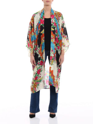 Gucci: knee length coats online - Light damask open front kimono