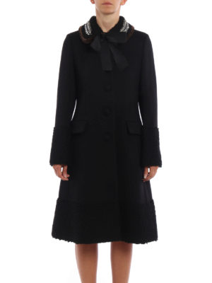 Gucci: knee length coats online - Mink trimmed collar wool coat