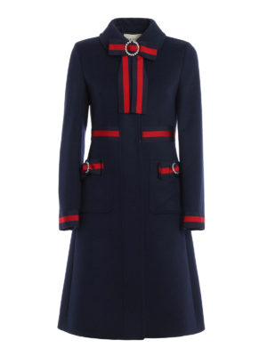 Gucci: knee length coats - Sylvie Web bow detail coat
