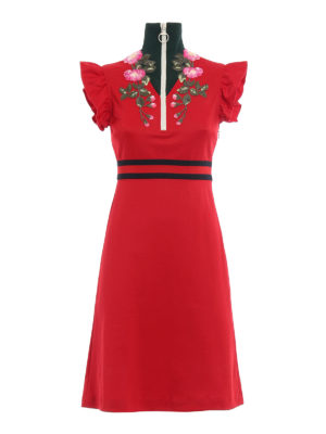 Gucci: knee length dresses - Floral embroidered jersey dress