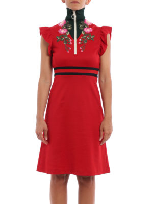 Gucci: knee length dresses online - Floral embroidered jersey dress