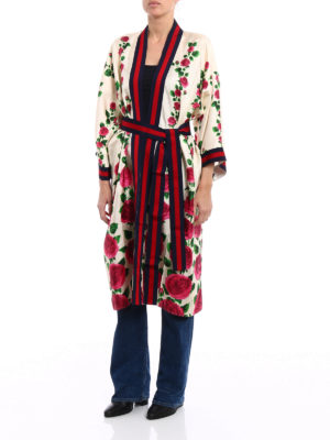Gucci: knee length dresses online - Printed silk open front kimono