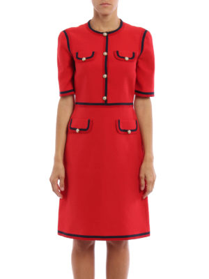 Gucci: knee length dresses online - Web wool and silk dress