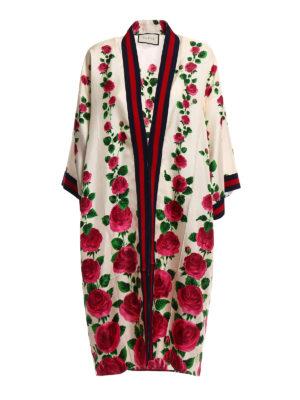 Gucci: knee length dresses - Printed silk open front kimono